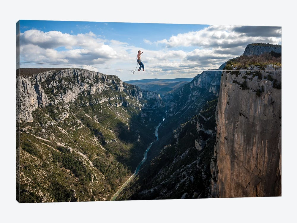 A Highliner In Verdon Gorges, Hundreds Of Meters Above The Ground, Paca, France by Alex Buisse 1-piece Canvas Artwork