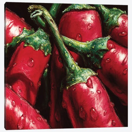 Hot Peppers 3-Piece Canvas #AMC4} by AlmaCh Canvas Art Print