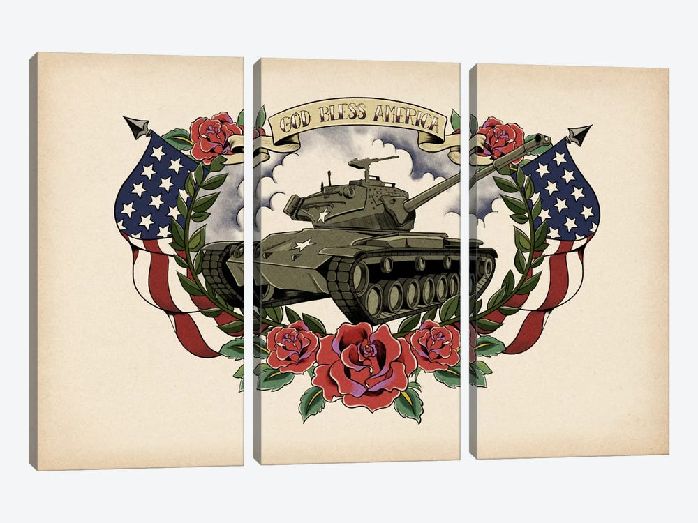 God Bless America by 5by5collective 3-piece Canvas Print