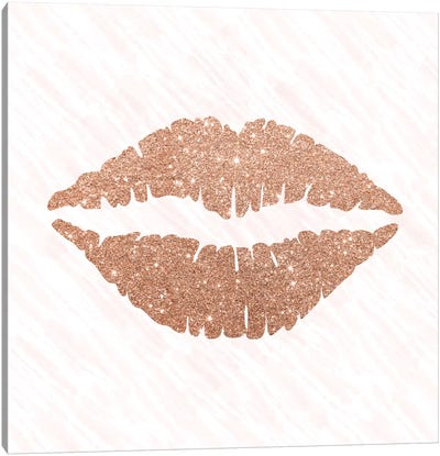 Rose Gold Kiss Canvas Art Print