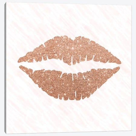 Rose Gold Kiss Canvas Print #AMD12} by Amanda Murray Canvas Print