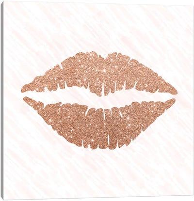 Rose Gold Kiss Canvas Art Print