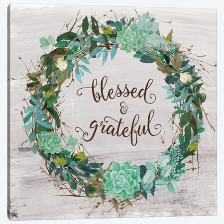 Blessed & Grateful Canvas Print #AMD42} by Amanda Murray Canvas Artwork