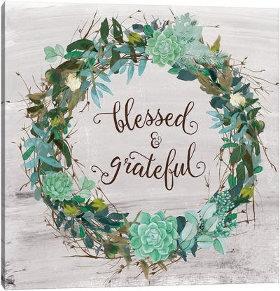 Blessed & Grateful Canvas Art Print