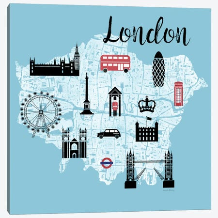 City Graphic Map - London Canvas Print #AMD4} by Amanda Murray Canvas Art