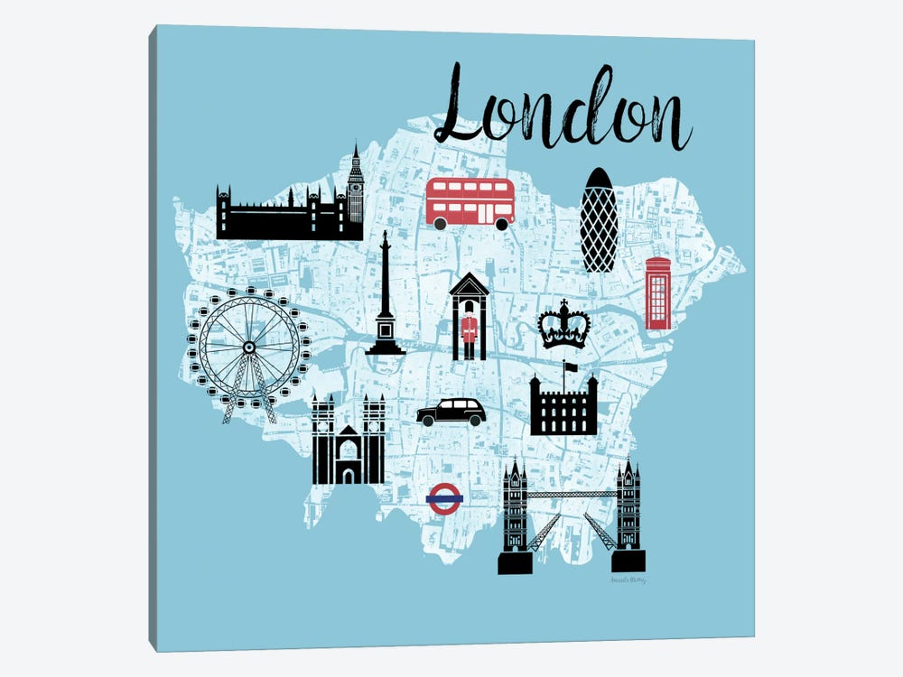 City Graphic Map - London by Amanda Murray 1-piece Canvas Artwork