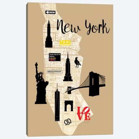 City Graphic Map - New York Canvas Print #AMD5} by Amanda Murray Canvas Artwork