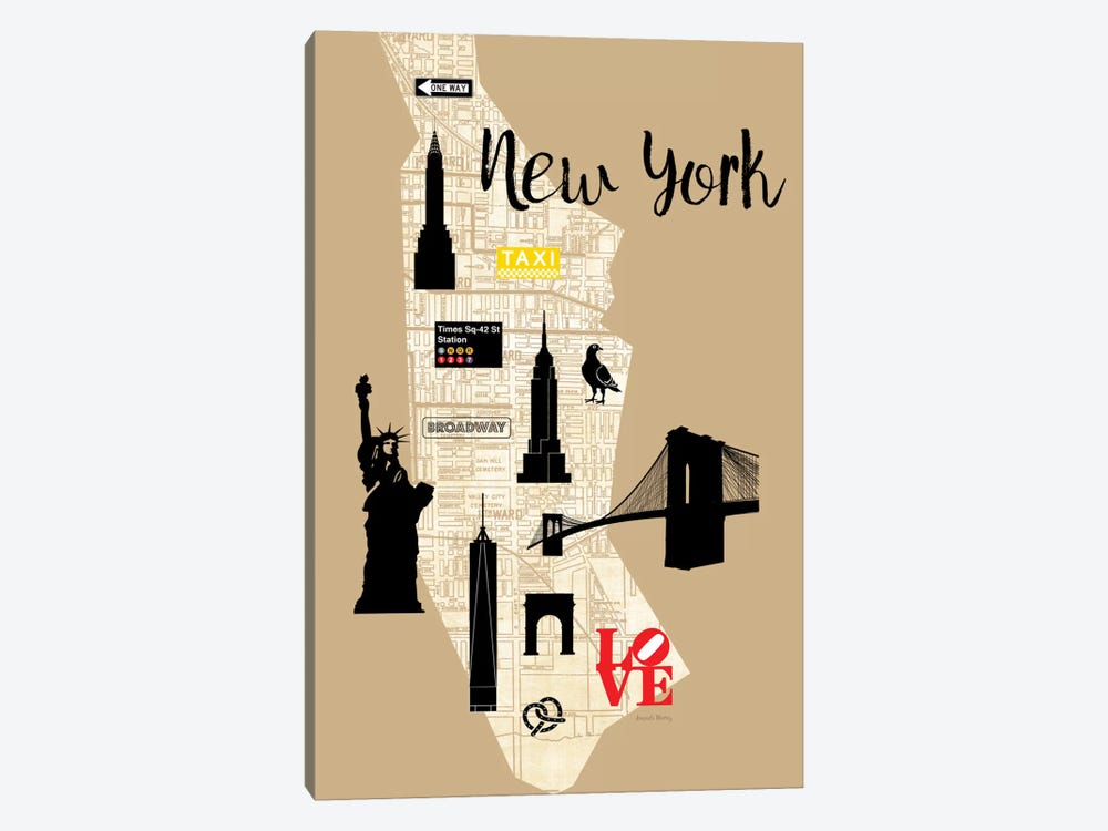 City Graphic Map - New York by Amanda Murray 1-piece Canvas Print