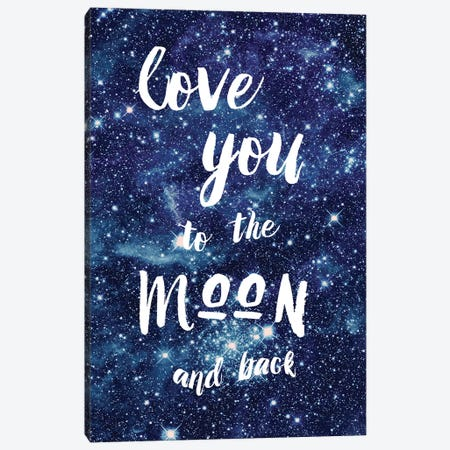 Love You To The Moon Canvas Print #AMD67} by Amanda Murray Art Print