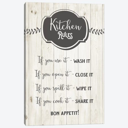 Kitchen Rules Canvas Print #AMD82} by Amanda Murray Canvas Wall Art