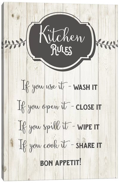 Kitchen Rules Canvas Art Print