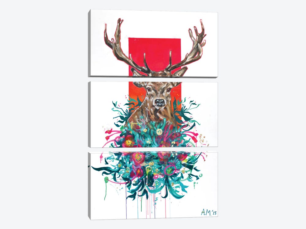 Deer Final by Armando Mesias 3-piece Canvas Art Print