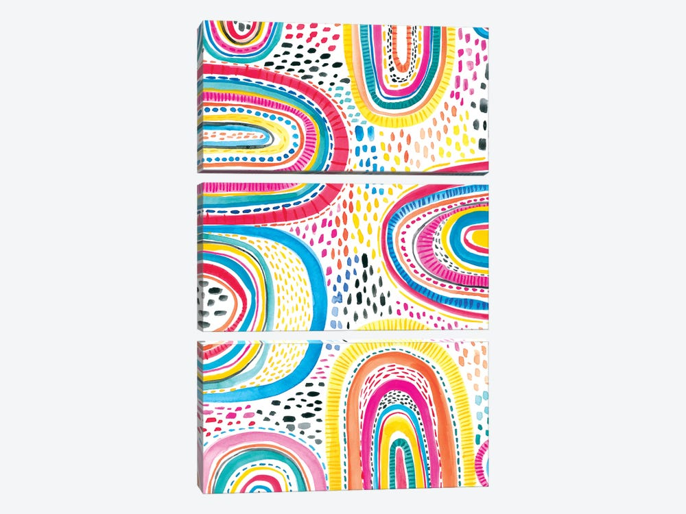 Colorfully Happy I by Amanda Mcgee 3-piece Canvas Wall Art