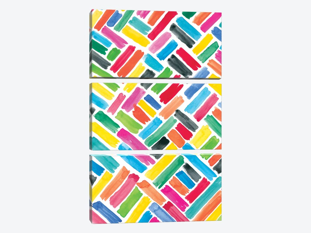 Colorfully Happy III by Amanda Mcgee 3-piece Canvas Art Print