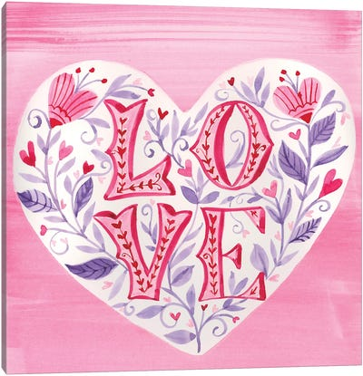 Hearts Flowers Canvas Art Print