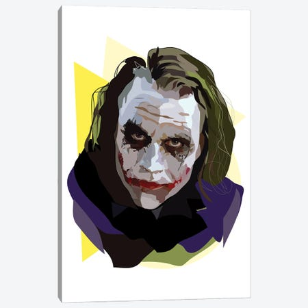 Heath Ledger Joker Canvas Print #AMK32} by Anna Mckay Canvas Wall Art
