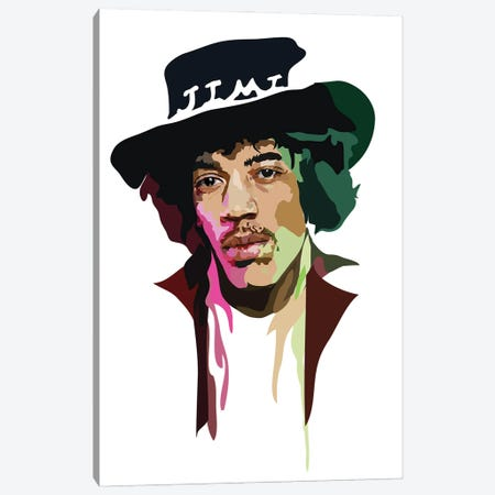 Jimi Hendrix 3-Piece Canvas #AMK37} by Anna Mckay Canvas Print