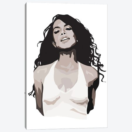 Aaliyah Black and White Canvas Print #AMK3} by Anna Mckay Canvas Artwork