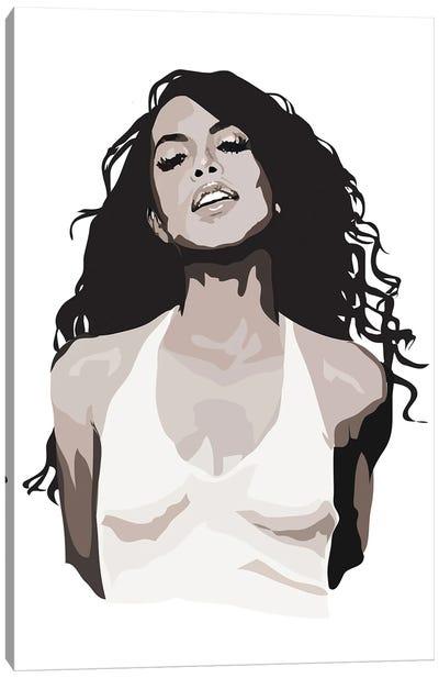 Aaliyah Black and White Canvas Art Print