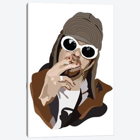 Kurt Cobain Smoking Canvas Print #AMK45} by Anna Mckay Canvas Artwork