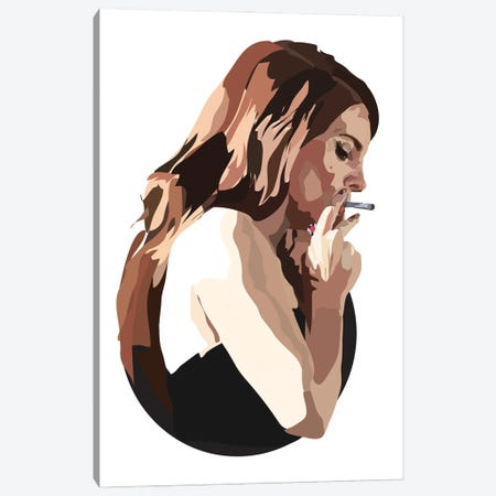 Lana Del Rey With Cigarette Canvas Print #AMK47} by Anna Mckay Canvas Wall Art