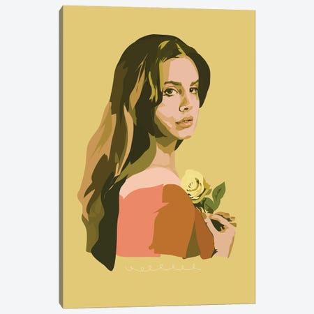 Lana Del Rey With Rose Canvas Print #AMK48} by Anna Mckay Canvas Art Print