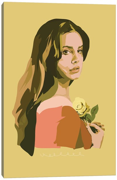 Lana Del Rey With Rose Canvas Art Print