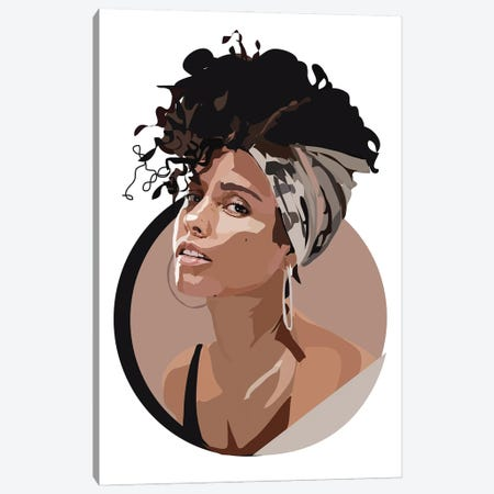 Alicia Keys Canvas Print #AMK5} by Anna Mckay Canvas Art Print