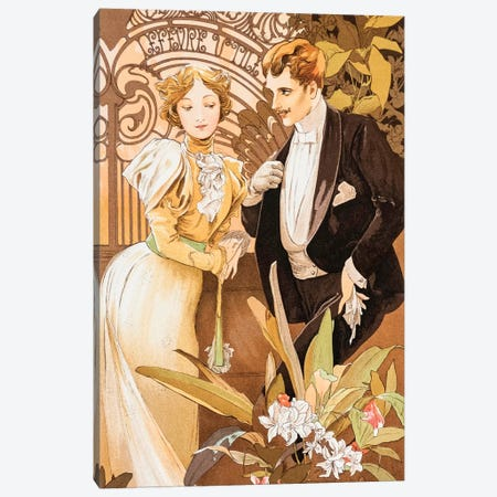 Flirt Canvas Print #AMM10} by Alphonse Mucha Canvas Art