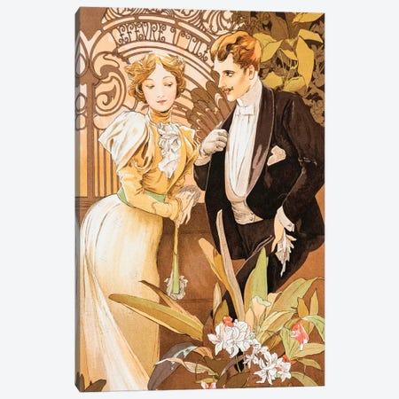 Flirt Canvas Print #AMM10} by Alphonse Mucha Canvas Art