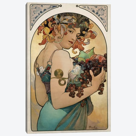 Fruit, 1897 Canvas Print #AMM11} by Alphonse Mucha Canvas Art