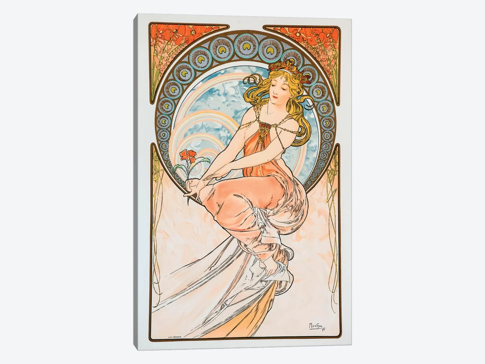 Lily by Alphonse Mucha 1-piece Canvas Wall Art