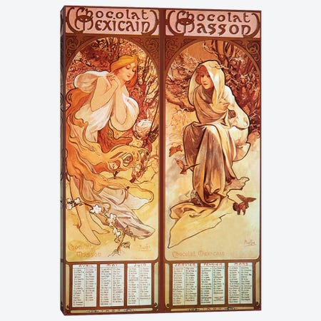 Chocolat Panels, 1896 Canvas Print #AMM17} by Alphonse Mucha Art Print