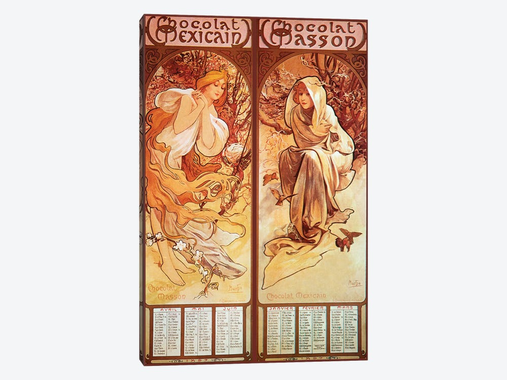 Chocolat Panels, 1896 by Alphonse Mucha 1-piece Canvas Artwork