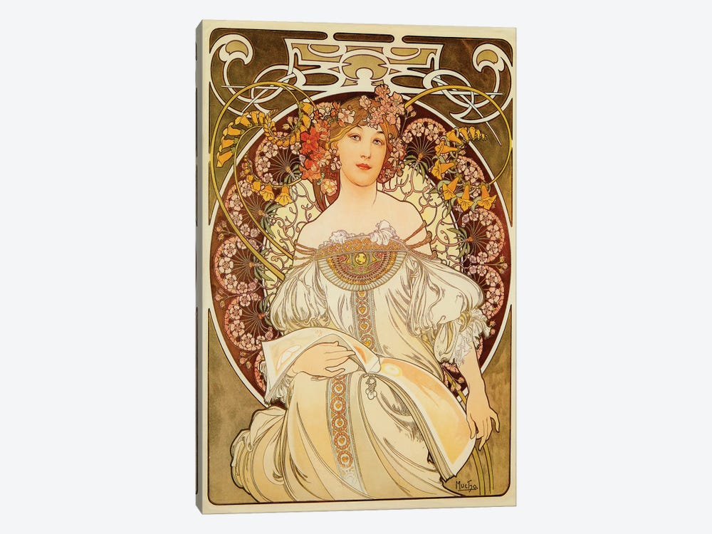 Reverie, 1898 by Alphonse Mucha 1-piece Canvas Artwork