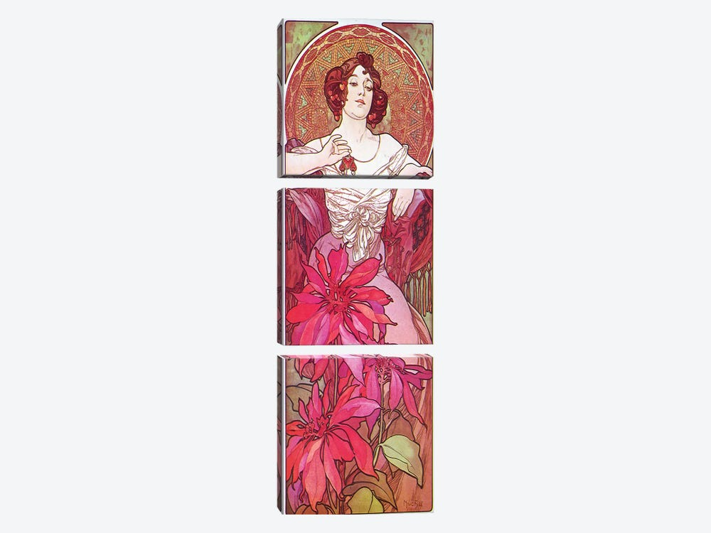 Ruby, 1900 by Alphonse Mucha 3-piece Art Print