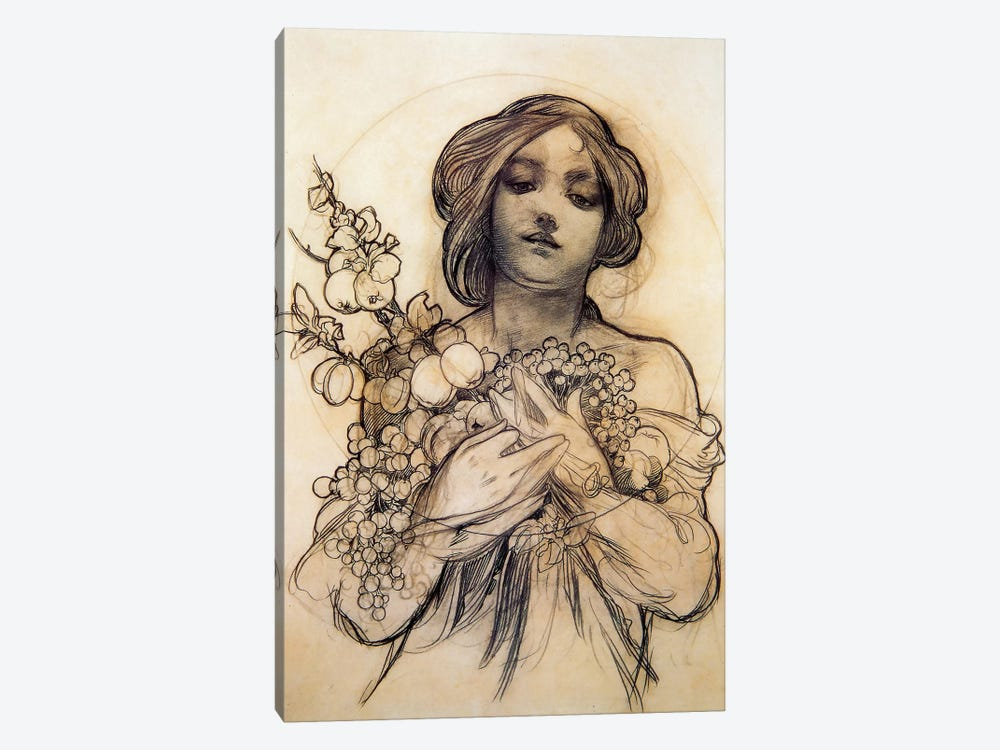Study Of Woman With Fruit by Alphonse Mucha 1-piece Canvas Art