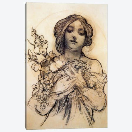 Study Of Woman With Fruit Canvas Print #AMM24} by Alphonse Mucha Canvas Artwork