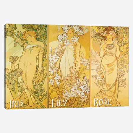 The Flowers (Iris, Lily, & Rose), 1898 Canvas Print #AMM25} by Alphonse Mucha Canvas Wall Art
