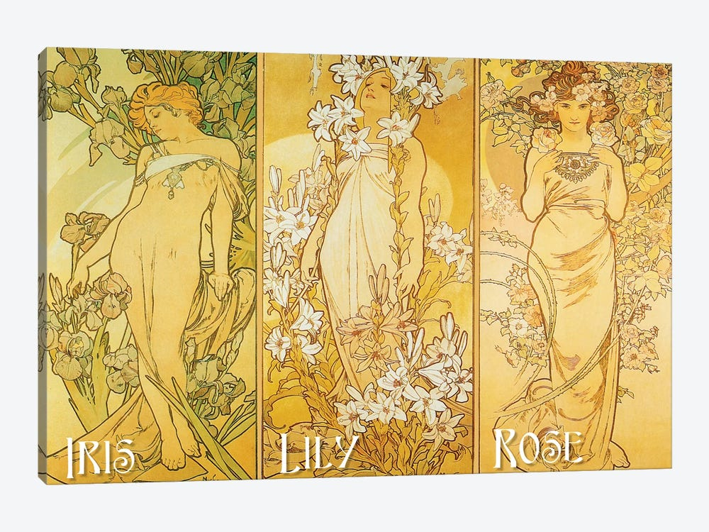 The Flowers (Iris, Lily, & Rose), 1898 by Alphonse Mucha 1-piece Canvas Print