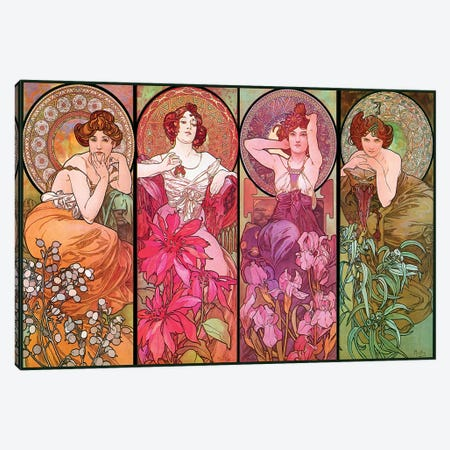 The Precious Stones (Ruby, Emerald, Amethyst, Topaz), 1900 Canvas Print #AMM27} by Alphonse Mucha Canvas Art