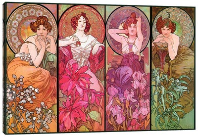 The Precious Stones (Ruby, Emerald, Amethyst, Topaz), 1900 Canvas Art Print