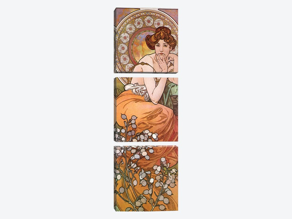 Topaz, 1900 by Alphonse Mucha 3-piece Canvas Art