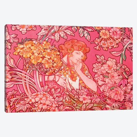 Woman Among Flowers, c. 1900 Canvas Print #AMM30} by Alphonse Mucha Canvas Artwork