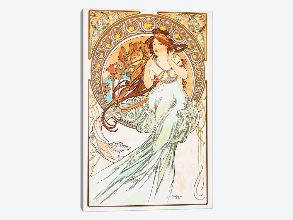 Birds by Alphonse Mucha 1-piece Canvas Wall Art
