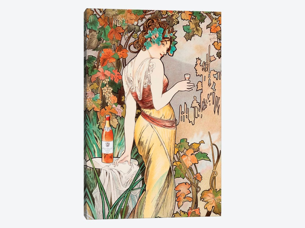 Cognac by Alphonse Mucha 1-piece Canvas Art Print