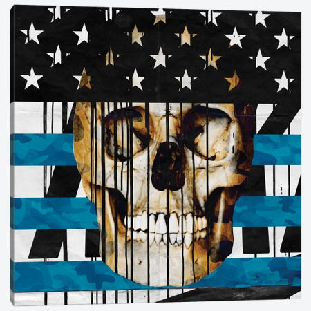 Skull Spangled Banner Canvas Print #AMME11} by 5by5collective Canvas Artwork