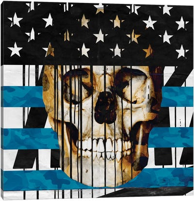 Skull Spangled Banner Canvas Art Print