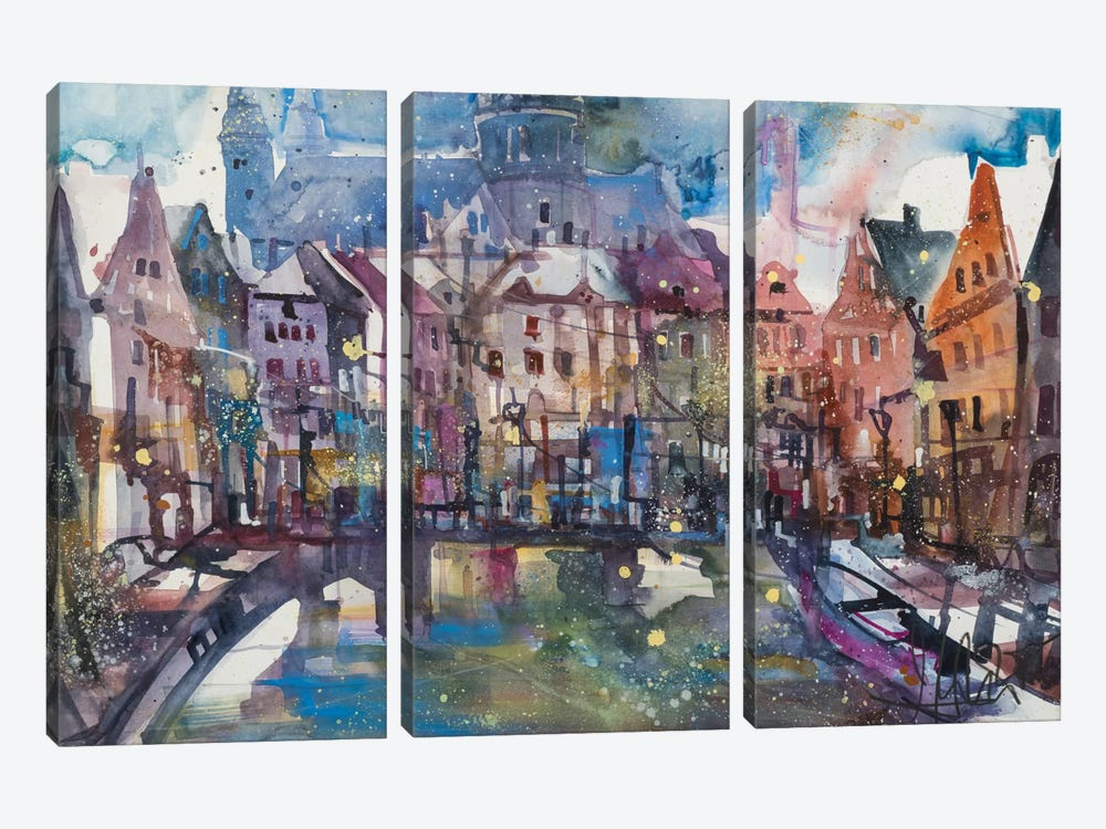 Amsterdam by Andreas Mattern 3-piece Canvas Art Print