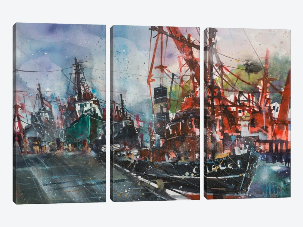 Hamburg Harbour by Andreas Mattern 3-piece Art Print